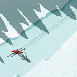 Illustration Of Man Skiing During by Malte Mueller