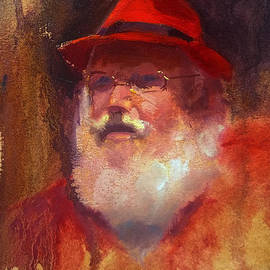 Karen Whitworth - Impressionistic Santa with Rockin Red Fedora