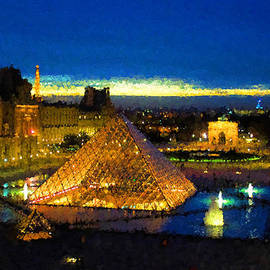 Impressions of Paris - Louvre Pyramid Blue Hour by Georgia Mizuleva