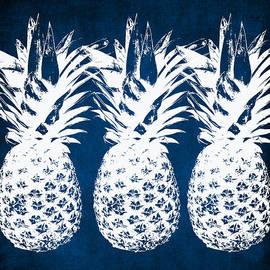 Indigo And White Pineapples by Linda Woods