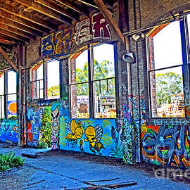 Inside The Old Train Roundhouse at Bayshore near San Francisco and the Cow Palace Altered II by Jim Fitzpatrick