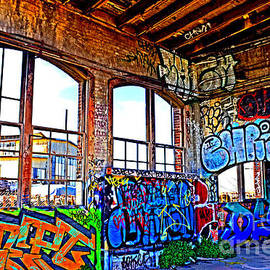Jim Fitzpatrick - Inside the Old Train Roundhouse at Bayshore near San Francisco and the Cow Palace Altered