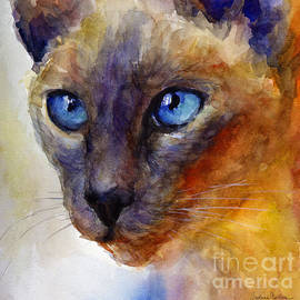 Svetlana Novikova - Intense Siamese Cat painting print 2