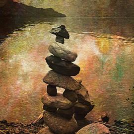Inukshuk - Northern Lights Night by Kathy Bassett