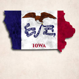 World Art Prints And Designs - Iowa Map Art with Flag Design