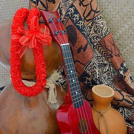Ipu Heke and Red Ukulele and Red Satin Lei by Mary Deal
