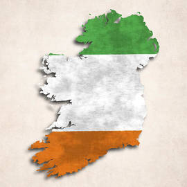 World Art Prints And Designs - Ireland Map Art with Flag Design