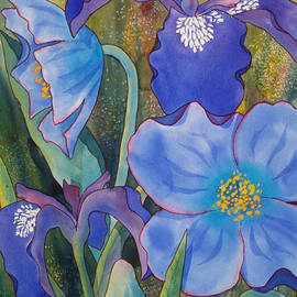 Iris and Himalayan Poppies by Teresa Ascone