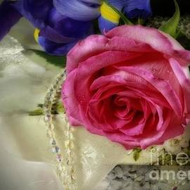 Inspired Nature Photography Fine Art Photography - Iris and Rose on Vintage Treasure Box