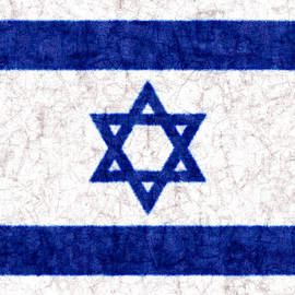 Israel Star Of David Flag Batik by Kurt Van Wagner