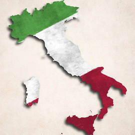 World Art Prints And Designs - Italy Map Art with Flag Design