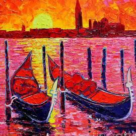 Italy - Venice Gondolas - Abstract Fiery Sunrise  by Ana Maria Edulescu
