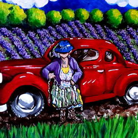 J. C. 1931 Fishing in Red Grandma Old Car Lavender Fields Jackie Carpenter by Jackie Carpenter