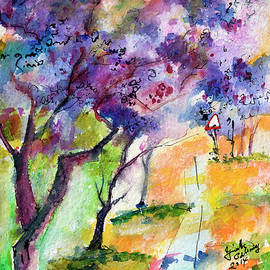 Ginette Callaway - Jacaranda Trees Watercolor and Ink by Ginette