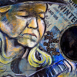 Johnny Winter Painted Guitar by Fiona Kennard
