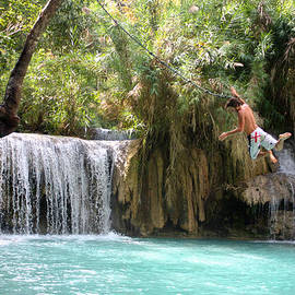 Jumping the Falls at Erawan by Venetia Featherstone-Witty