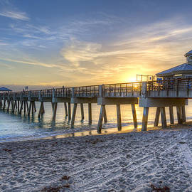 Juno Beach Pier at Dawn by Debra and Dave Vanderlaan