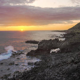 Kaena Point Sea Arch Sunset - Oahu Hawaii