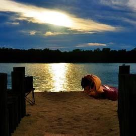 Pamela Blizzard - Kayaks on the Beach at Dusk