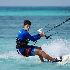 DejaVu Designs - Kitesurfer Carving Up the Ocean