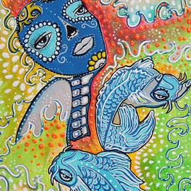 Koi Fish Sugar Skull by Laura Barbosa