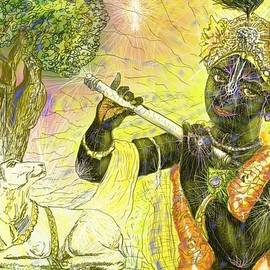 Krishna with spiritual illumination by Michael African Visions