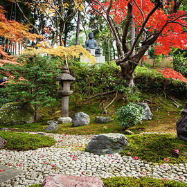Kyoto Zen Temple Garden With Stone by Claire Takacs