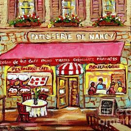 La Patisserie De Nancy French Pastry Boulangerie Paris Style Sidewalk Cafe Paintings Cityscene Art C by Carole Spandau