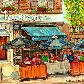 La Taverne Monkland Bistro Brasserie Sidewalk Paris Cafe Paintings City Scenes Montreal C Spandau by Carole Spandau