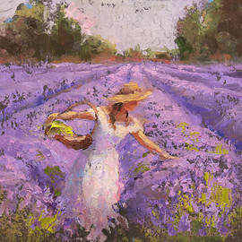 Karen Whitworth - Woman Picking Lavender In A Field In A White Dress - Lady Lavender - Plein Air Painting