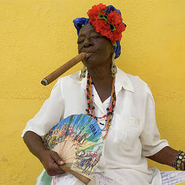 Lady With Fan And Cigar, Old Havana by Karl Blackwell