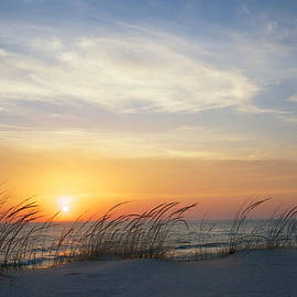 Lake Michigan Sunset with Dune Grass