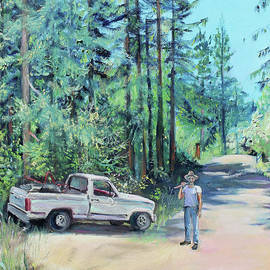 Landscaper Truck and Redwood Trees by Asha Carolyn Young