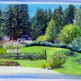 Asha Carolyn Young - Late Spring Yard with Redwoods and Apple Trees