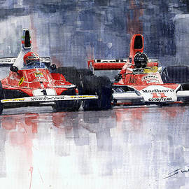 Lauda Vs Hunt Brazilian Gp 1976 by Yuriy Shevchuk