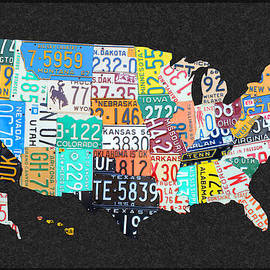License Plate Map of the United States on Gray Felt with Black Box Frame Edition 14 by Design Turnpike