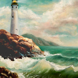 Lighthouse on the edge of the sea  by Laurine Baumgart