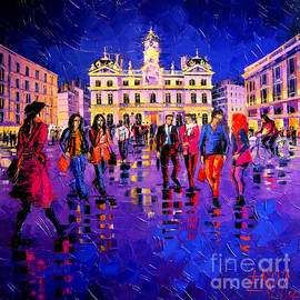 Mona Edulesco - Lights And Colors In Terreaux Square