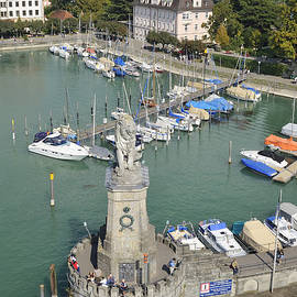 Lindau Harbor With Boats And Town View From Above by Matthias Hauser