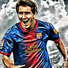 Lionel Messi Celebration Poster by Florian Rodarte
