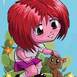 Little cartoon manga girl stroking pet cat by Martin Davey