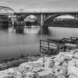 Gregory Ballos - Little Rock Arkansas River Bridge Black and White