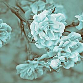 Little Tea Roses Teal Green by Jennie Marie Schell