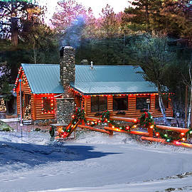 Log Home On Mount Charleston With Christmas Decoration by Gunter Nezhoda