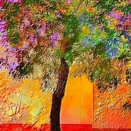 V Lone Tree Against Orange Wall - Vertical by Lyn Voytershark