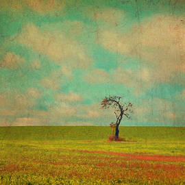 Brooke T Ryan - Lonesome Tree in Lime and Orange Field and Aqua Sky