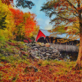 Jeff Folger - Looking up at the Flume Gorge covered bridge