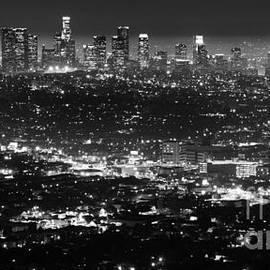 Bob Christopher - Los Angeles Skyline at Night Monochrome