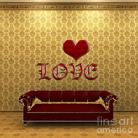 Love And Deep Red Sofa In A Gold Victorian Room by Beverly Claire Kaiya