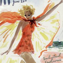 Mademoiselle Cover Featuring A Model At The Beach by Helen Jameson Hall